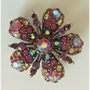 Joan Rivers Woman's Floral Brooch Pin Copper
